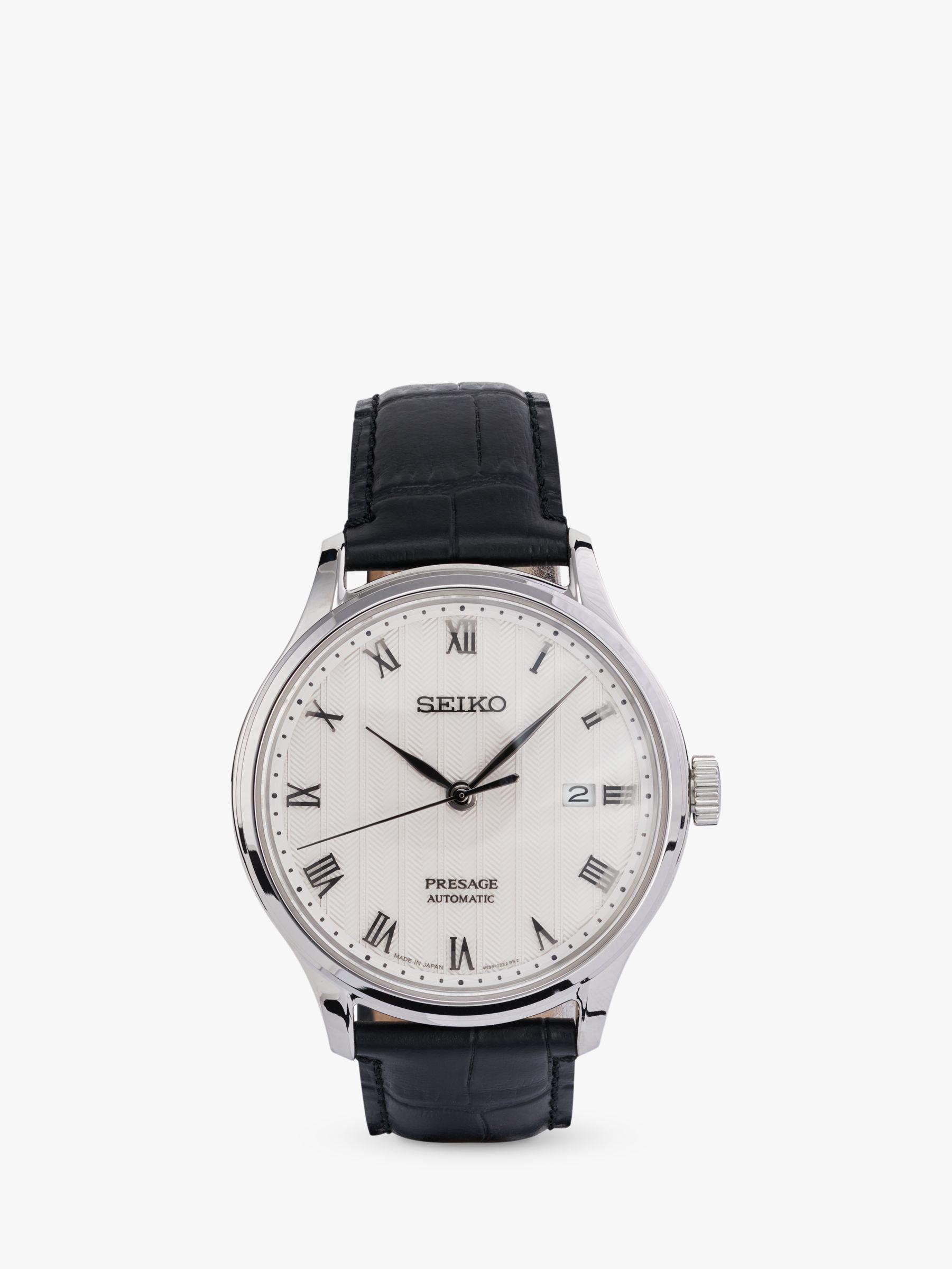 Seiko Seiko SRPC83J1 Men's Presage Automatic Date Leather Strap Watch, Black/White
