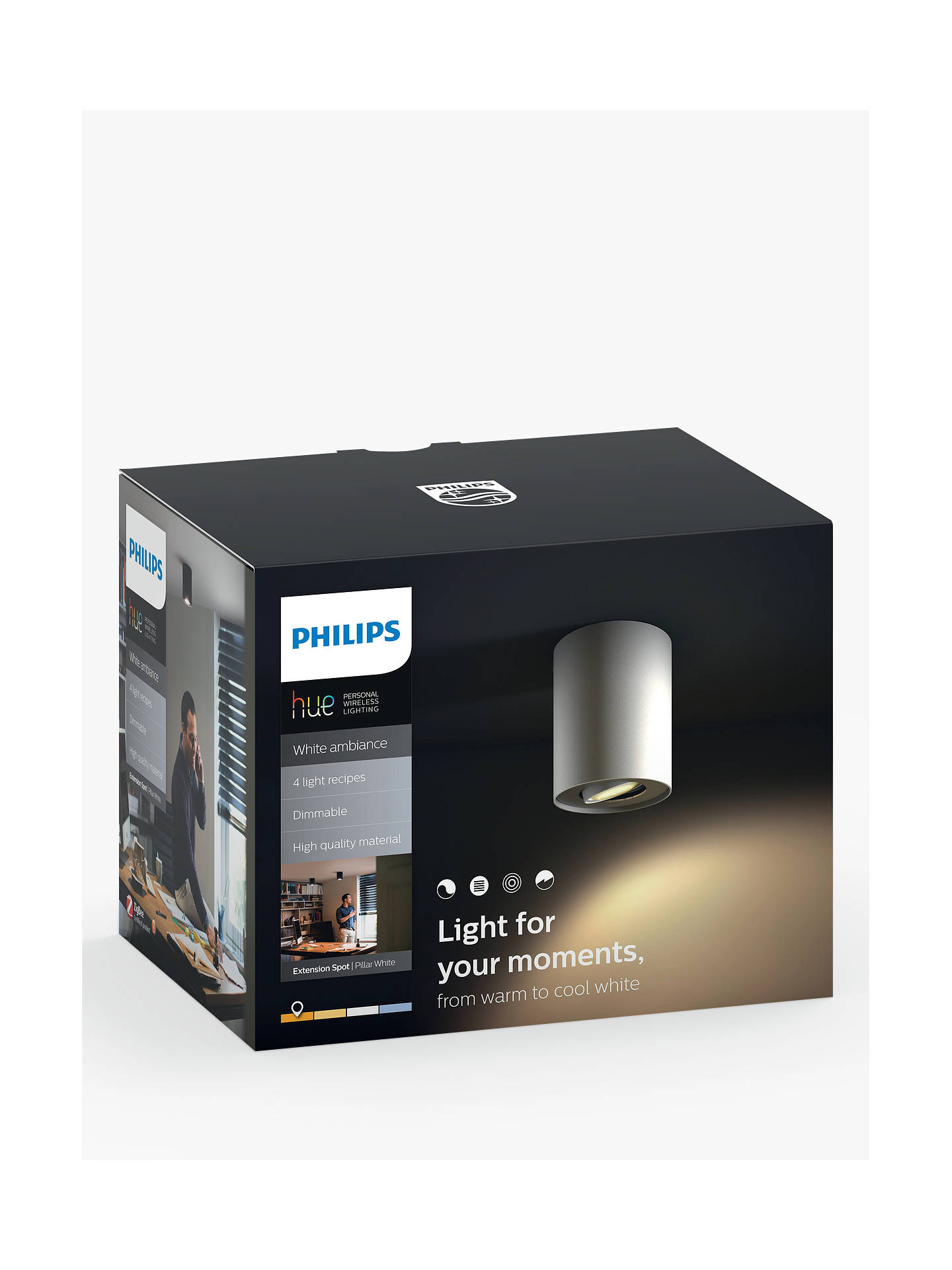 BuyPhilips Hue White Ambiance LED Pillar Spotlight Extension, White Online at johnlewis.com