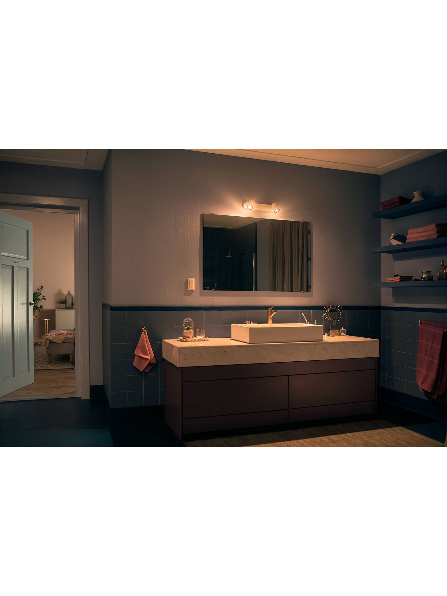 Buy Philips Hue White Ambiance Adore LED Double Bathroom Spotlight, White Online at johnlewis.com