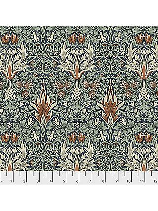 Morris & Co. Montagu Wandle Forest Print Fabric, Green/Blue