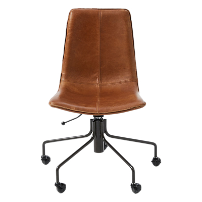 west elm Slope Leather Office Chair, Saddle