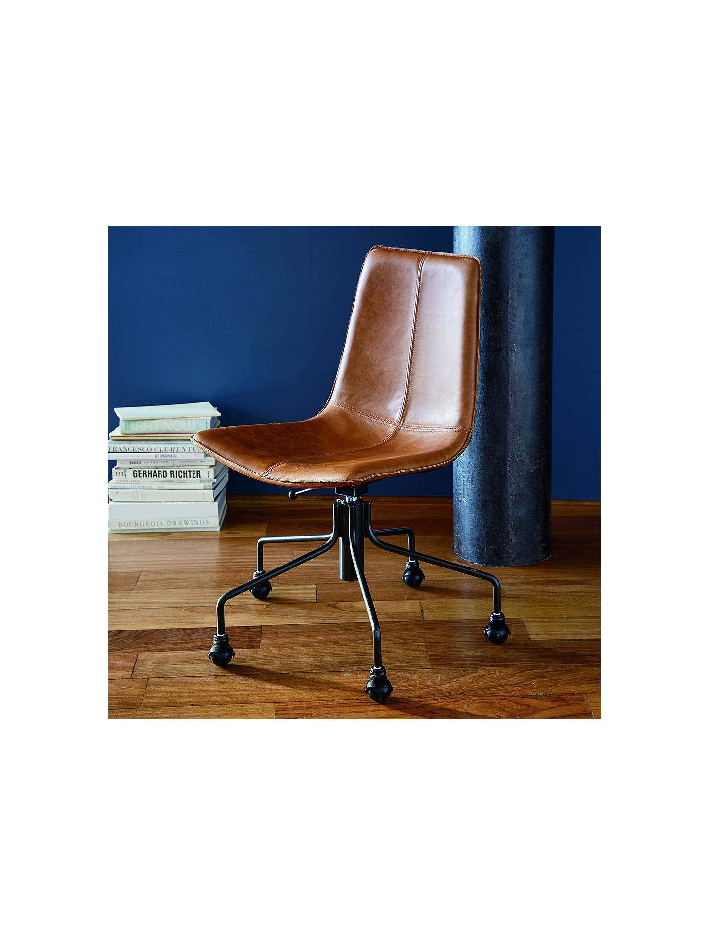 stunning west elm office chair | west elm Slope Leather Office Chair, Saddle at John Lewis ...
