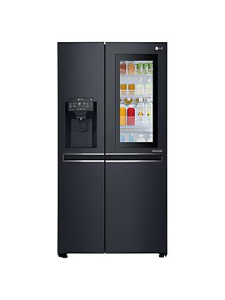LG InstaView GSX960MTAZ American Style Plumbed Freestanding Fridge Freezer, A+  Energy Rating, 91cm Wide, Matte Black