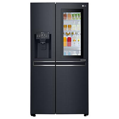 LG InstaView GSX961MTAZ American Style Non-Plumbed Freestanding Fridge Freezer, A+ Energy Rating, 91cm Wide, Matte Black