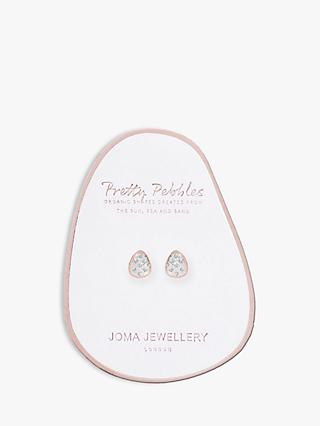 Joma Jewellery Pebble Pave Stud Earrings, Silver/Rose Gold