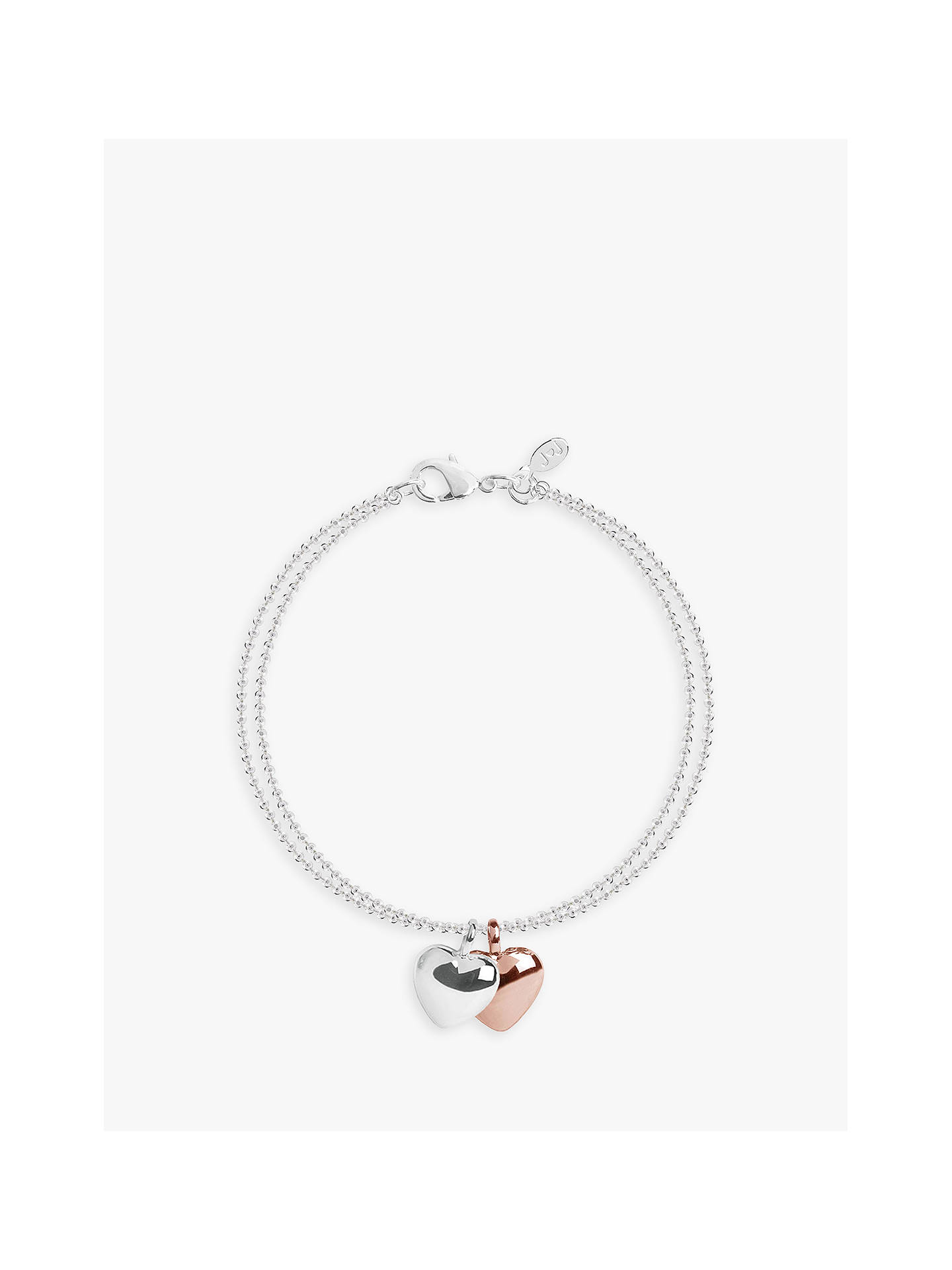 Buy Joma Jewellery Double Heart Chain Bracelet, Silver/Rose Gold Online at johnlewis.com