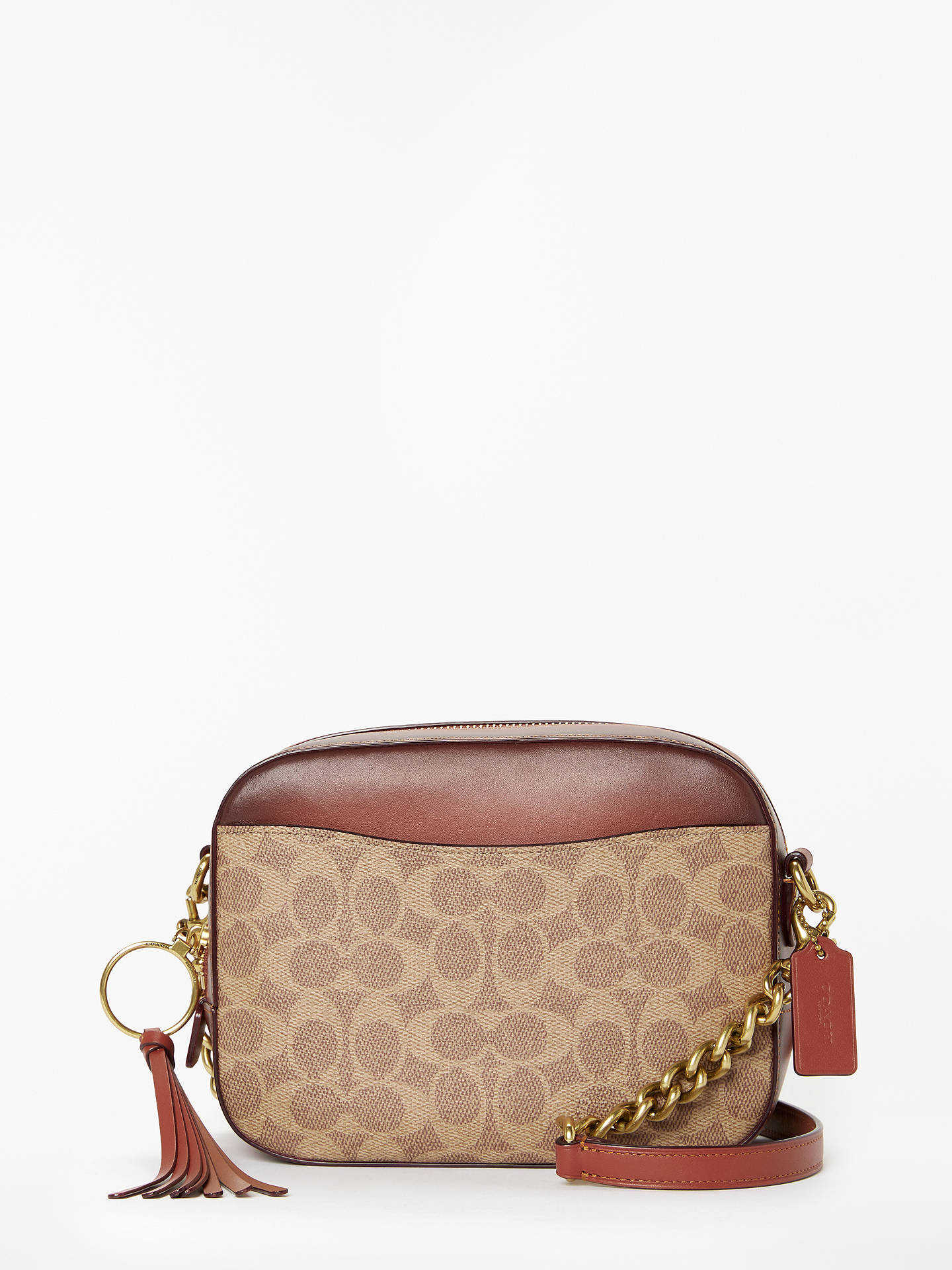 75e5b023d39 Buy Coach Signature Canvas Camera Bag, Tan/Rust Online at johnlewis.com ...