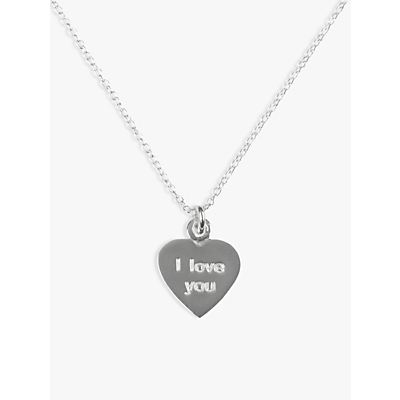 JOHN LEWIS   John Lewis & Partners Sterling Silver I Love You Heart Necklace   Goxip