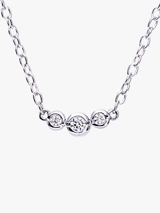 Mogul 9ct White Gold Round Brilliant Diamond Trilogy Pendant Necklace, 0.15ct