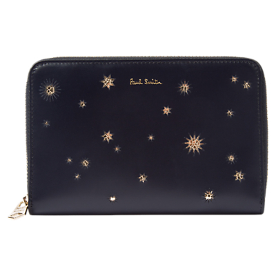 Paul Smith Stars Leather Medium Zip Around Purse, Black