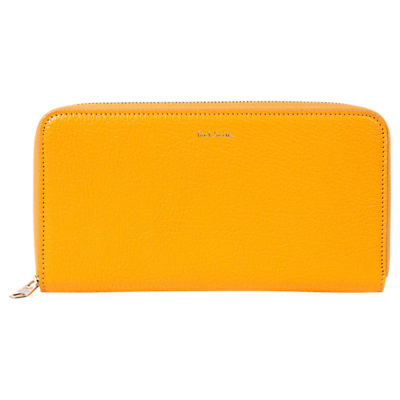 Paul Smith Leather Large Zip Around Purse, Yellow