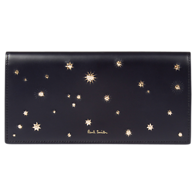 Paul Smith Stars Leather Foldover Purse, Black