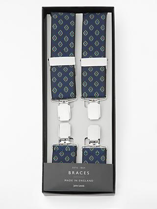 John Lewis & Partners Made in England Geo Braces, One Size, Navy