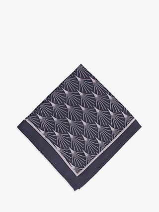 John Lewis & Partners Wool Art Deco Print Pocket Square, Navy