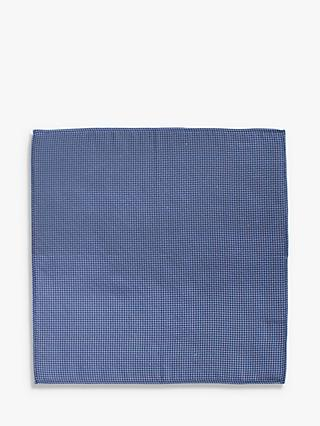 John Lewis & Partners Wool Puppytooth Pocket Square, Blue