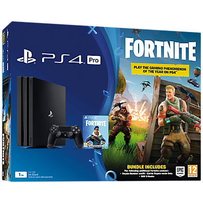 Image of Sony PlayStation 4 Pro Console, 1TB, with DualShock 4 Controller, Jet Black and Fortnite Battle Royale Bundle