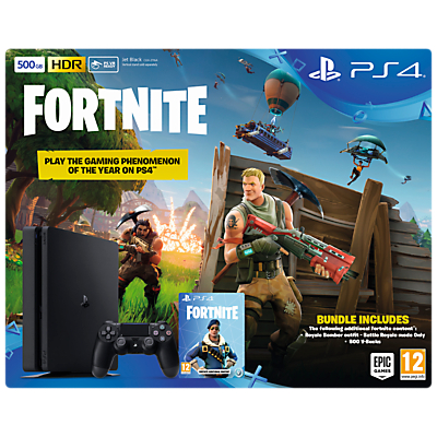 Image of Sony PlayStation 4 Slim Console with DUALSHOCK 4 Controller, 500GB, Jet Black and Fortnite Battle Royale Bundle
