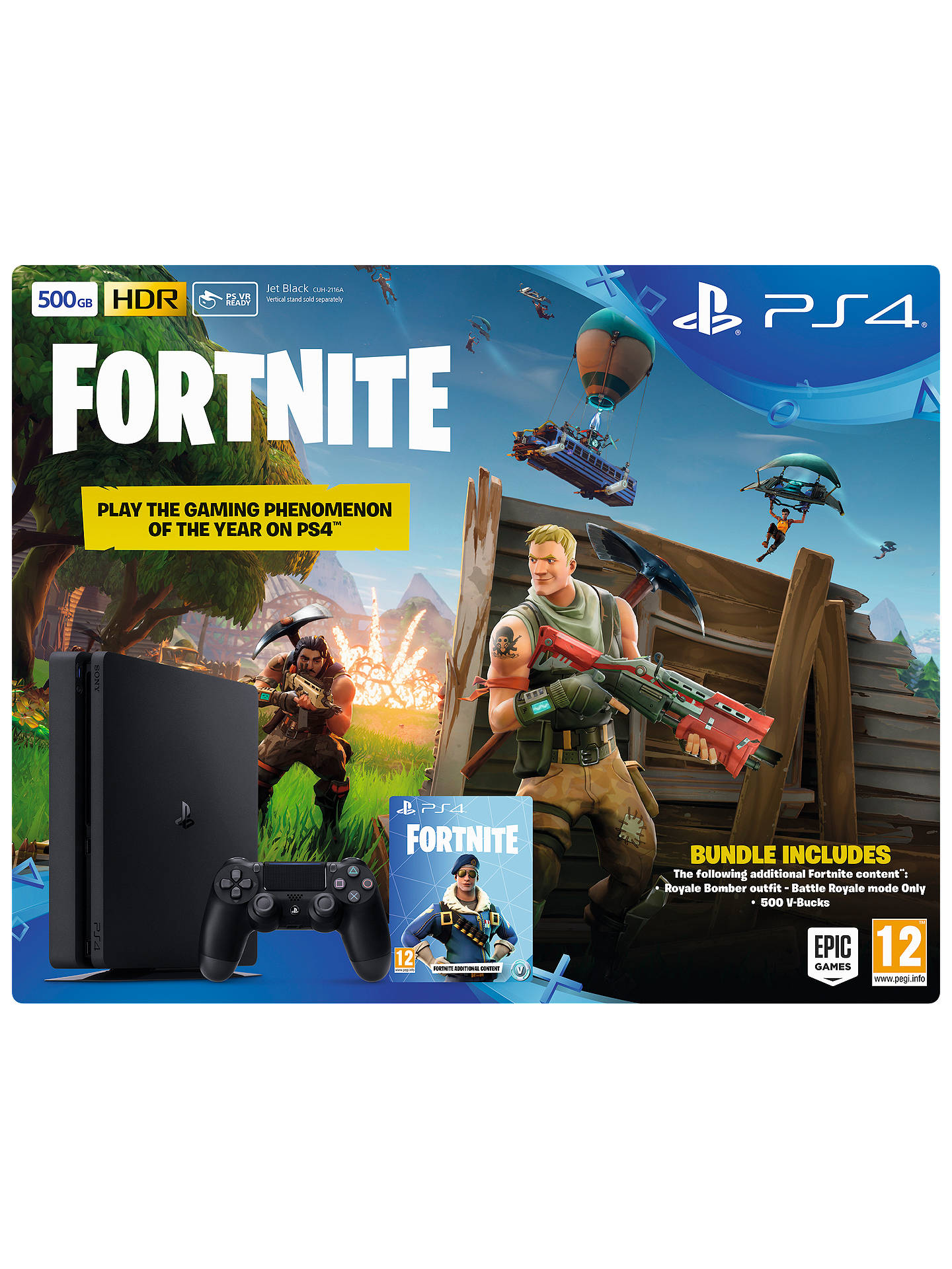 BuySony PlayStation 4 Slim Console with DUALSHOCK 4 Controller, 500GB, Jet Black and Fortnite Battle Royale Bundle Online at johnlewis.com