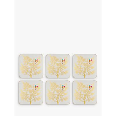 Sara Miller Bird In Tree Coasters, Gold, Set of 6