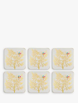 Sara Miller Cork-Backed Bird In Tree Coasters, Gold, Set of 6