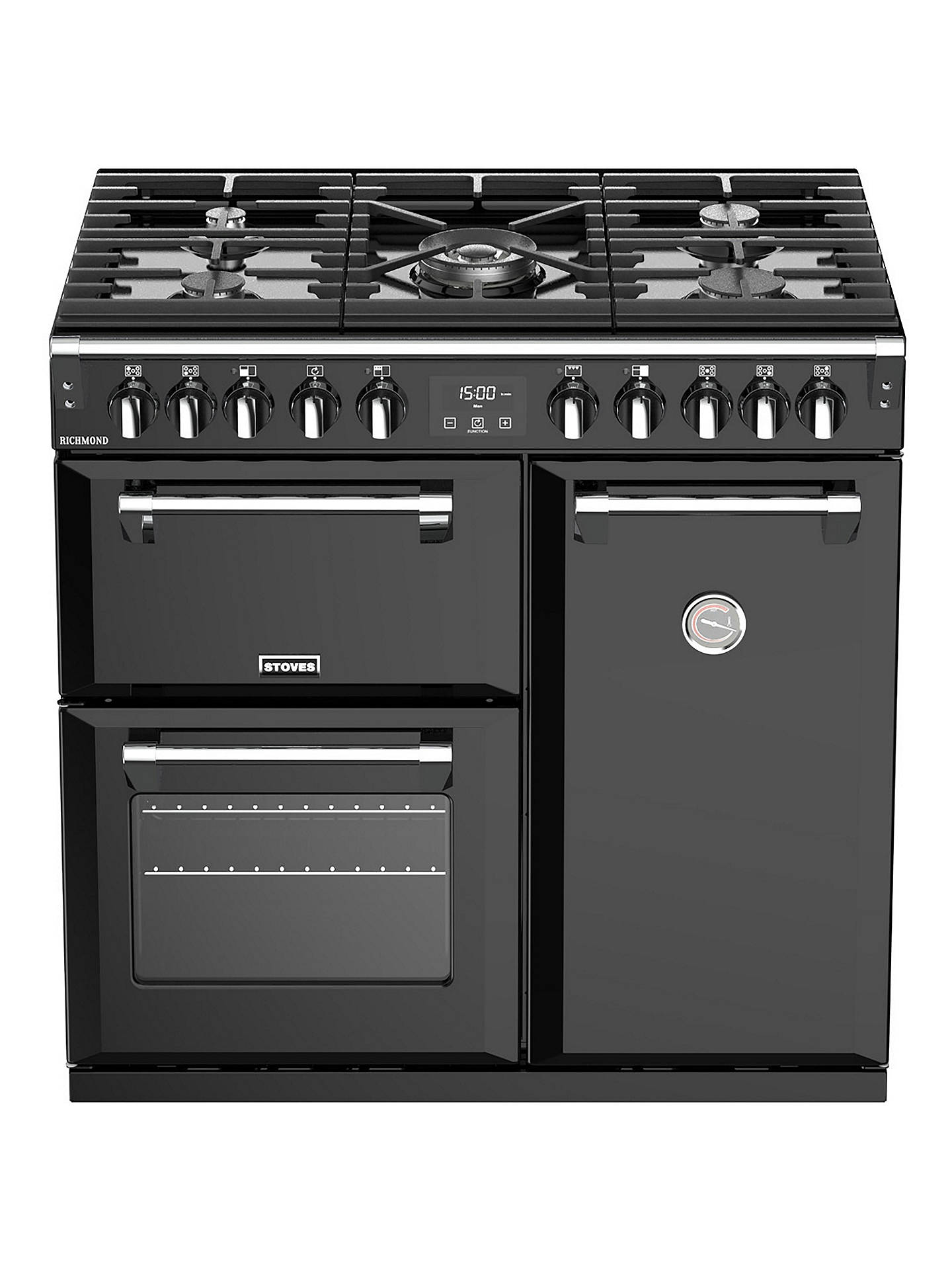 BuyStoves Richmond S900DF Dual Fuel Range Cooker, Black Online at johnlewis.com