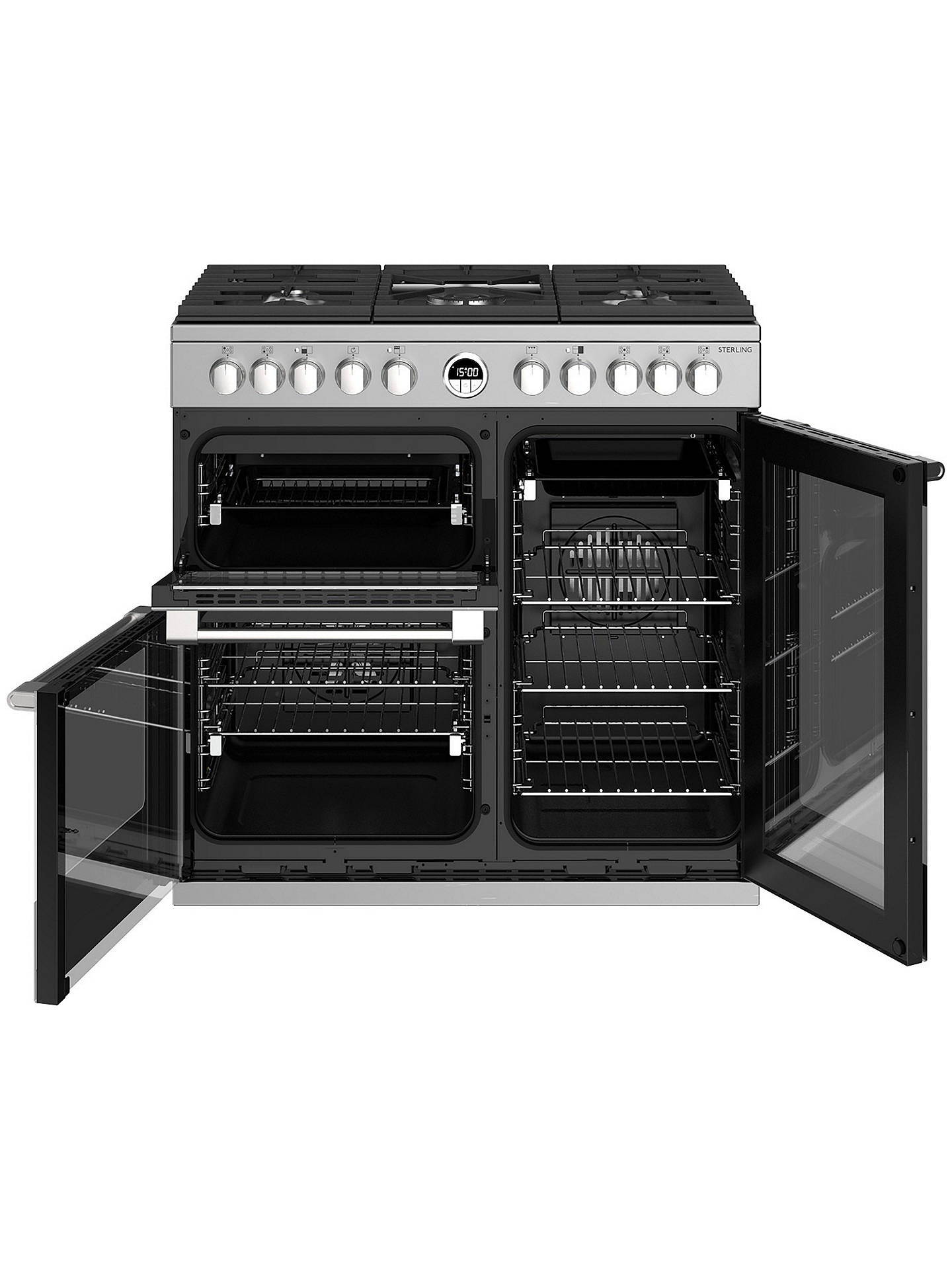 BuyStoves Sterling S900DF Dual Fuel Range Cooker, Stainless Steel Online at johnlewis.com