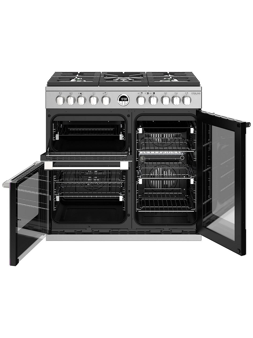 Buy Stoves Sterling Deluxe S900DF Dual Fuel Range Cooker, A Energy Rating, Stainless Steel Online at johnlewis.com