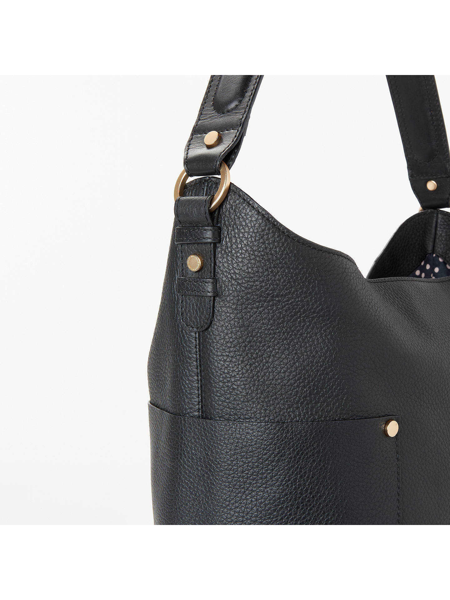 Buy Boden Warwick Leather Bucket Bag, Black Online at johnlewis.com