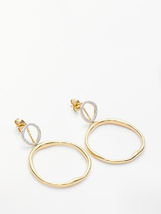 Modern Rarity Diamond Double Circle Drop Earrings, Gold