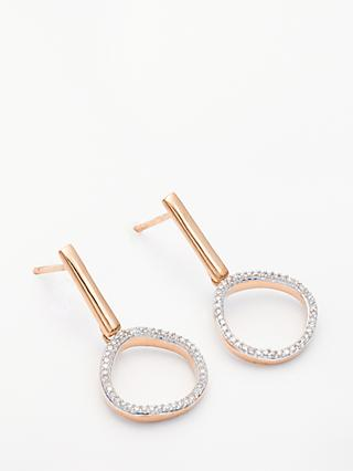 Modern Rarity Diamond Open Circle Drop Earrings