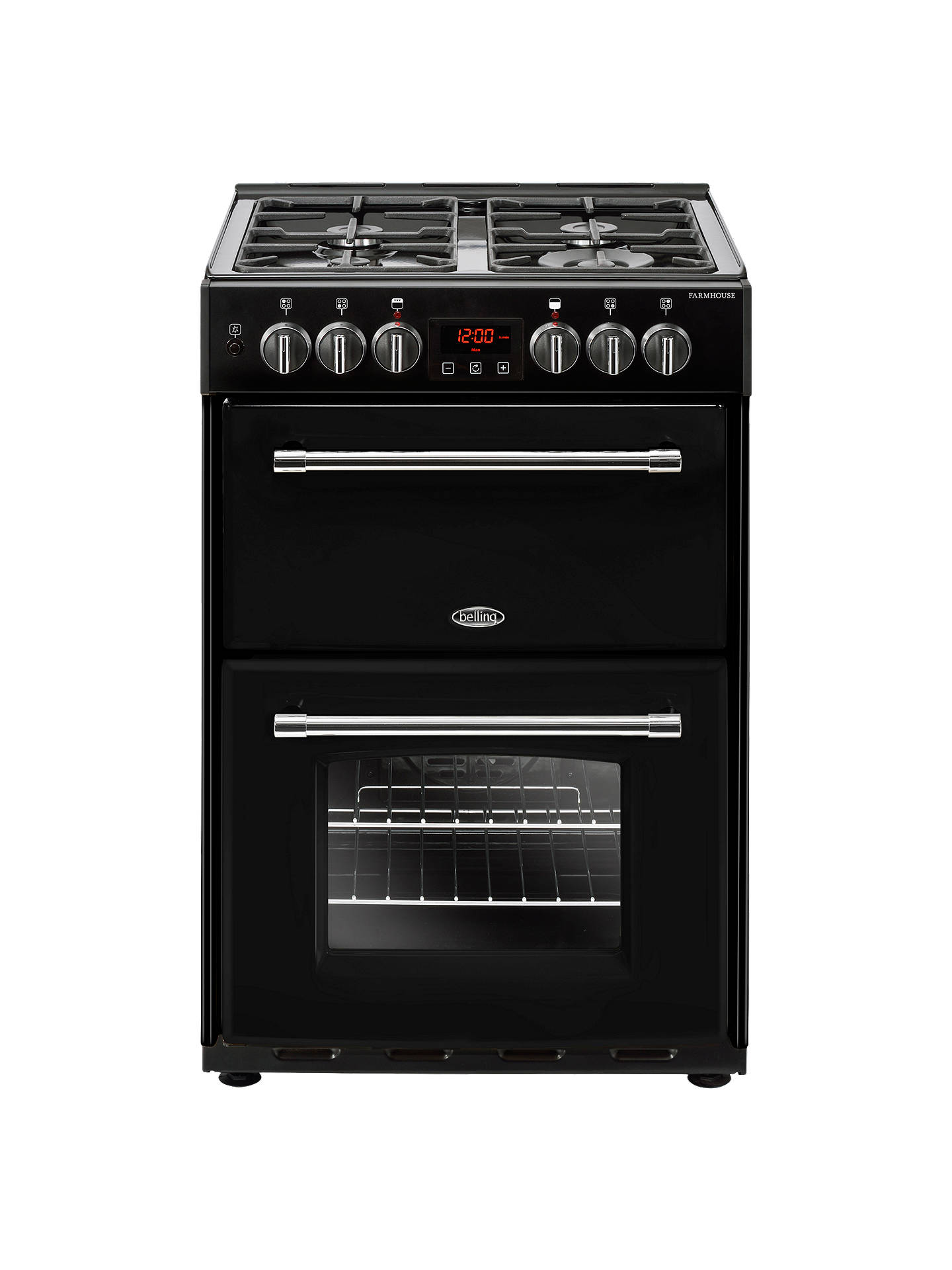 BuyBelling Farmhouse 60DF Electric Cooker with Gas Hob, 60cm Wide, Black Online at johnlewis.com