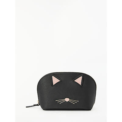 kate spade new york Cat's Meow Abalene Leather Small Wash Bag, Black