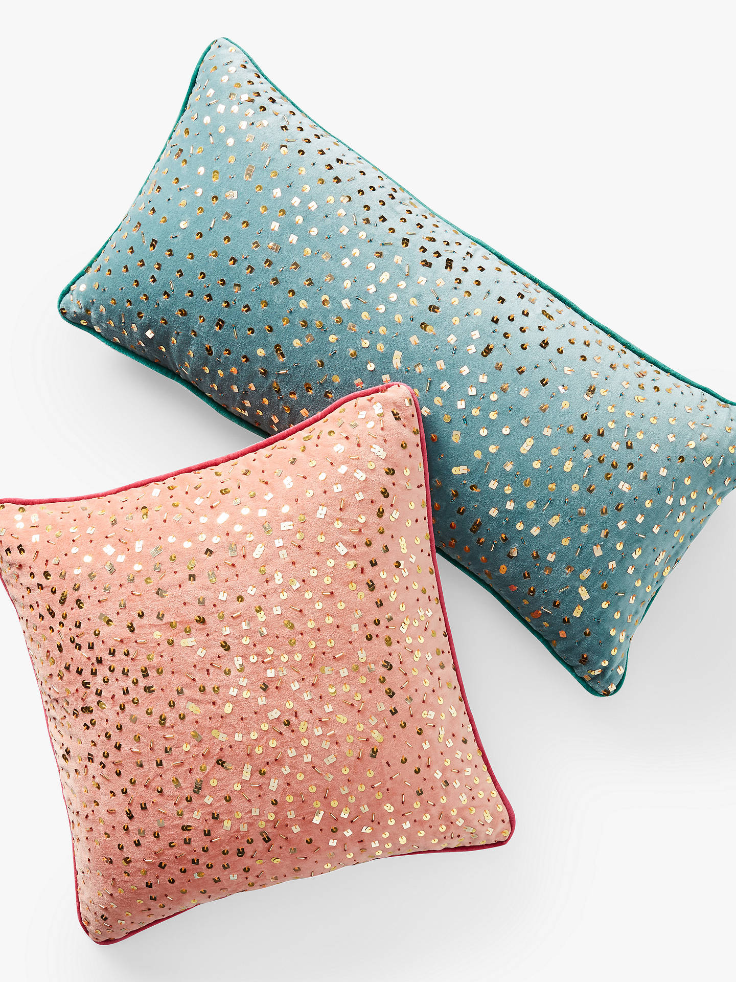BuyAnthropologie Confetti Velvet Square Cushion, Coral Online at johnlewis.com