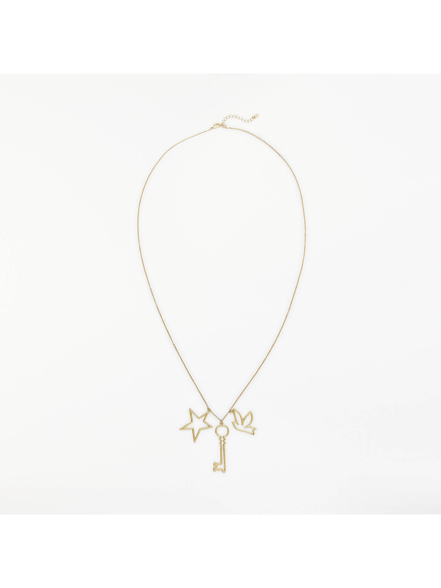 Buy Boden Charming Star Bird and Key Long Pendant Necklace, Gold Online at johnlewis.com