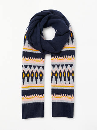 Buy Boden Fair Isle Wool Blend Scarf, Navy/Multi Online at johnlewis.com