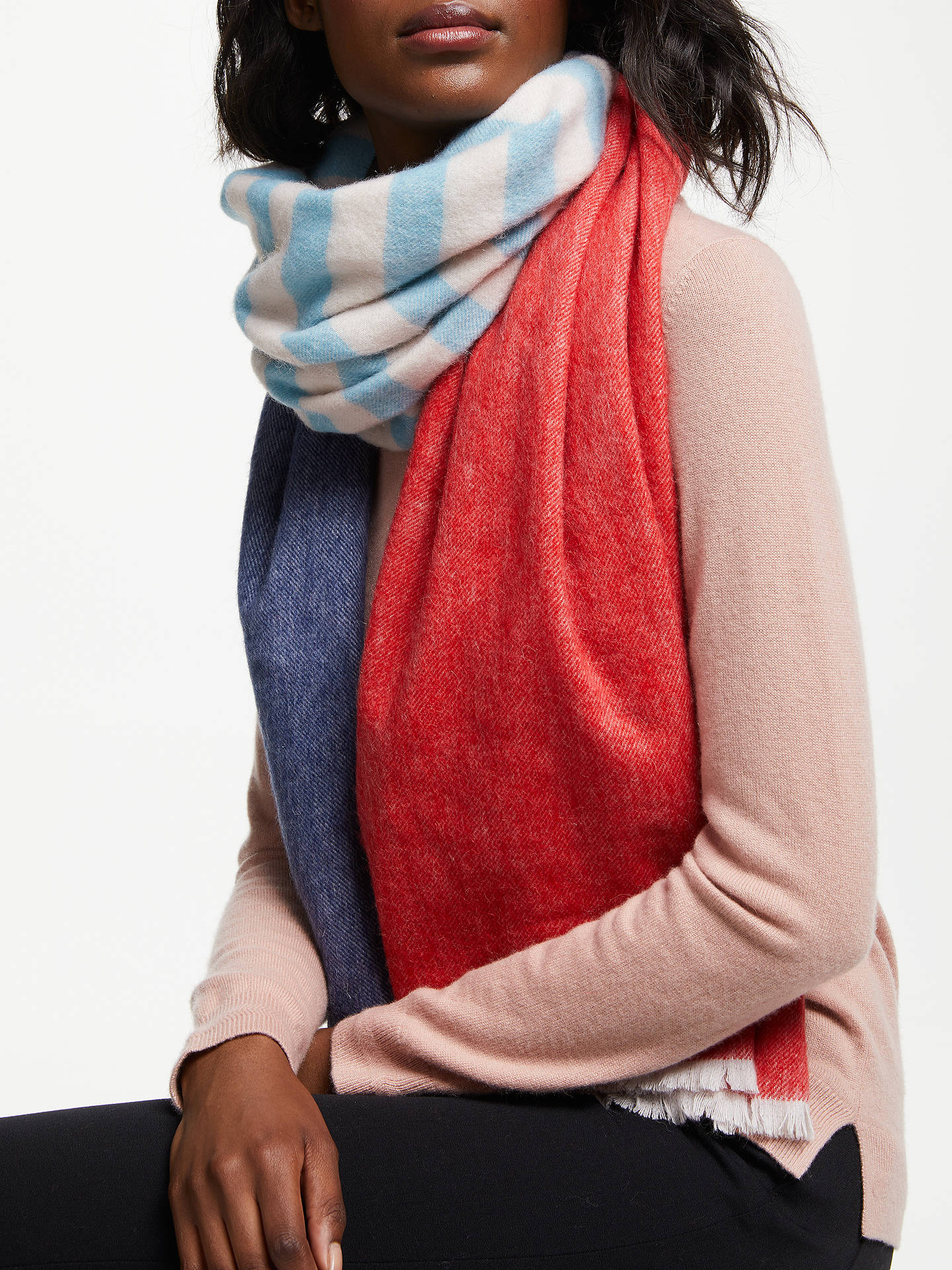 Buy Boden Colour Block Wool Scarf, Blue/Multi Online at johnlewis.com