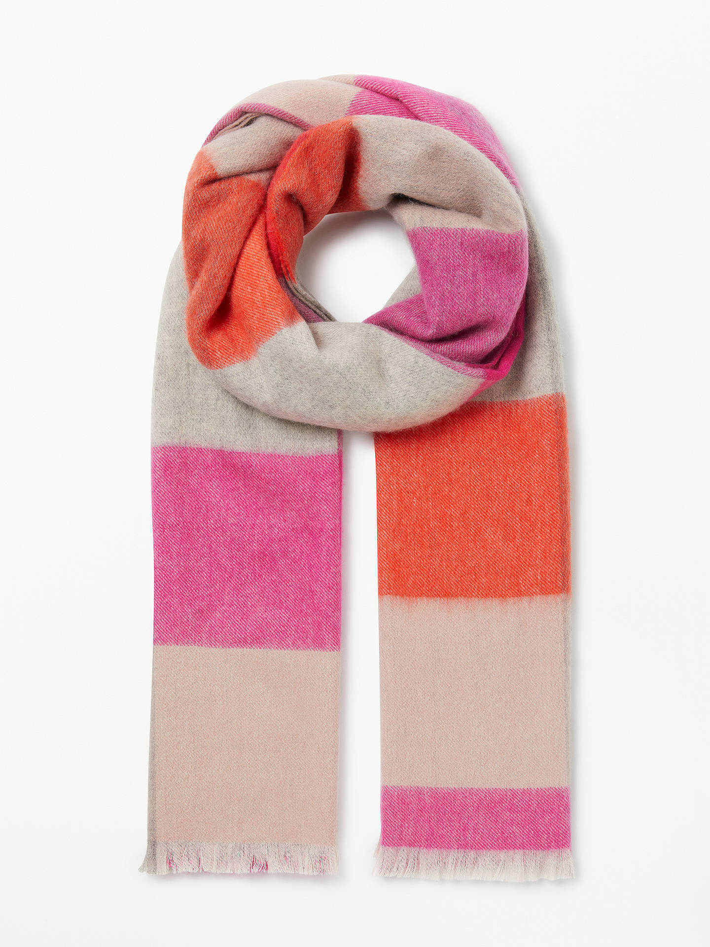 BuyBoden Colour Block Wool Scarf, Pop Pansy Check Online at johnlewis.com