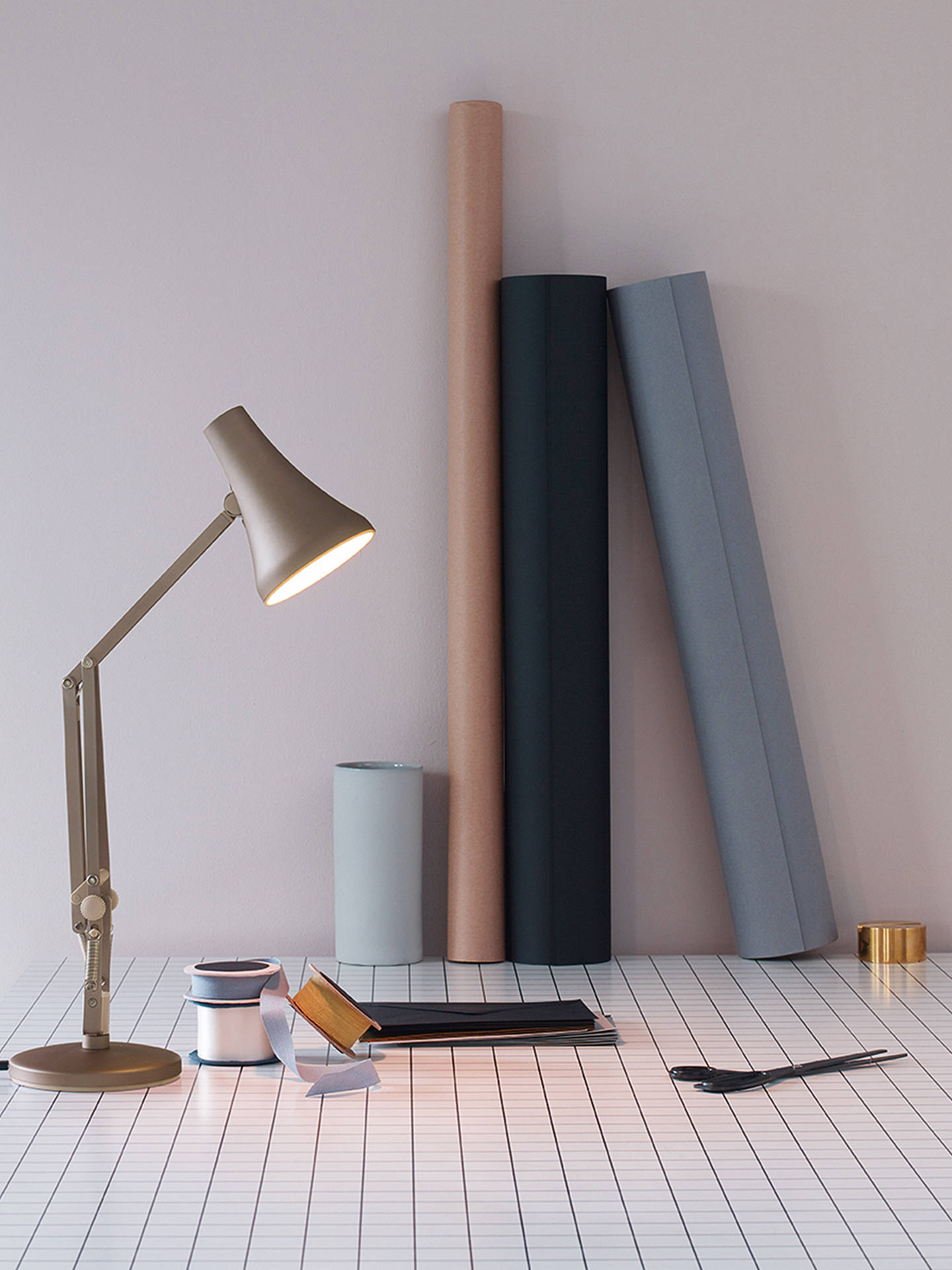 BuyAnglepoise 90 Mini Mini LED Desk Lamp, Blush Silver Online at johnlewis.com