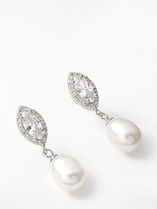 Lido Freshwater Pearl and Marquise Cubic Zirconia Drop Earrings, Silver/White
