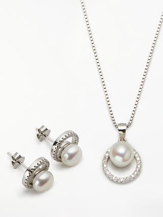 Lido Crystal and Freshwater Pearl Round Stud Earrings and Pendant Necklace Jewellery Set, Silver