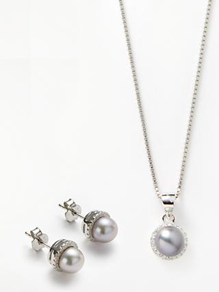 Lido Pearls Crystal and Freshwater Pearl Round Stud Earrings and Pendant Necklace Jewellery Set, Silver/Grey