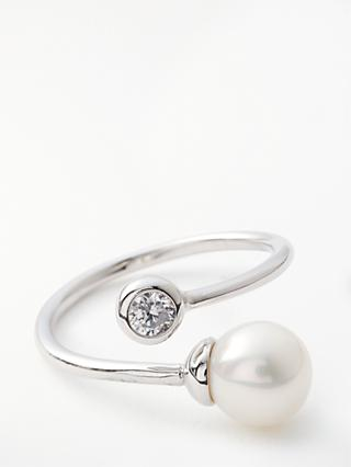 Lido Pearls Single Freshwater Pearl and Cubic Zirconia Swirl Ring, Silver/White