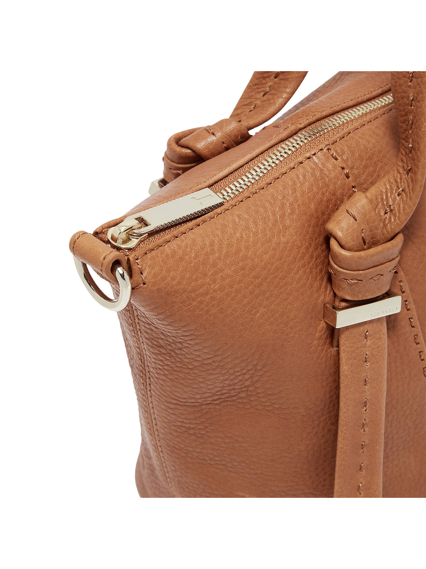 BuyTed Baker Olmia Knotted Handle Small Leather Tote Bag, Tan Online at johnlewis.com