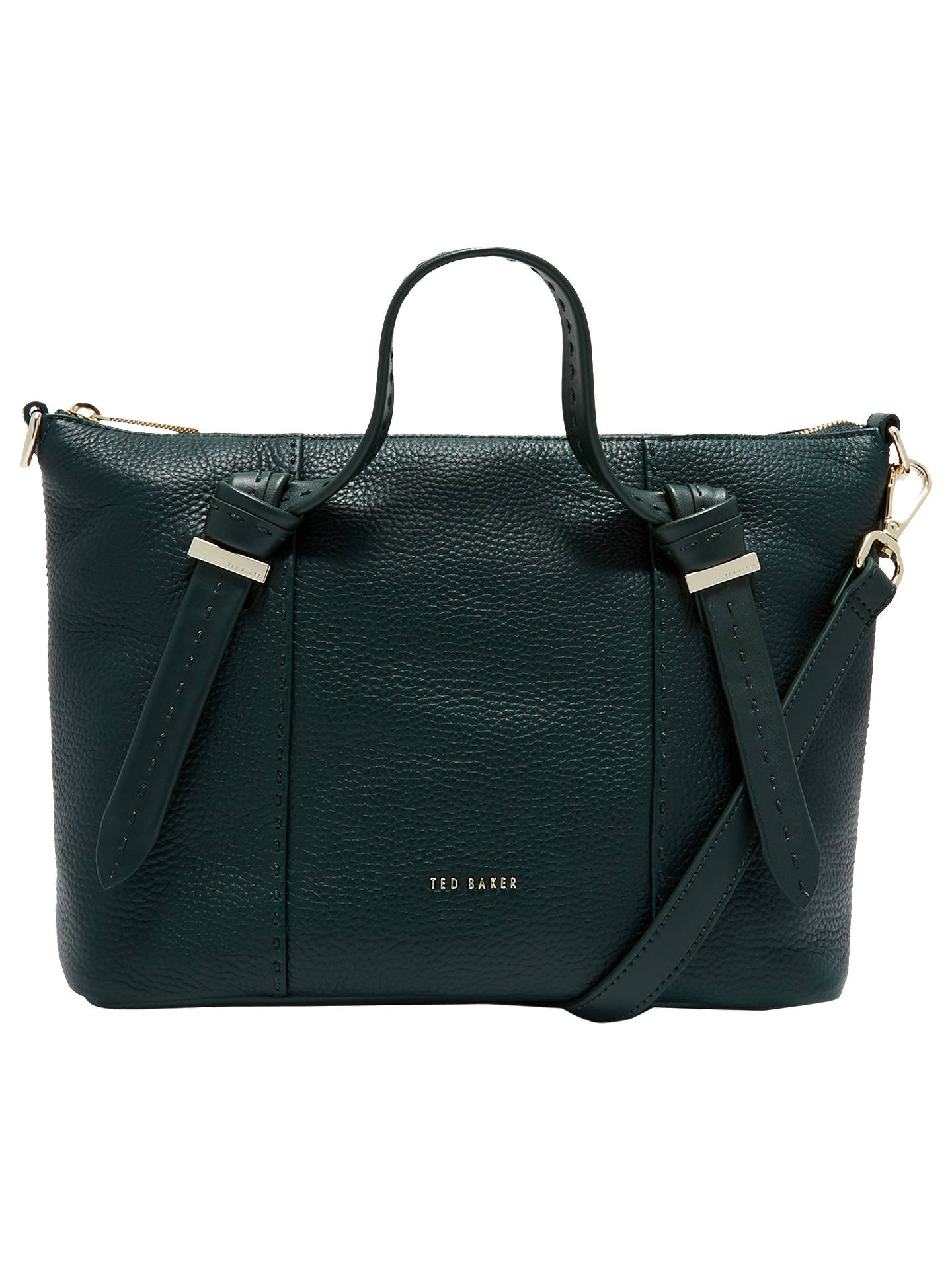 09a748228b8 BuyTed Baker Olmia Knotted Handle Small Leather Tote Bag, Dark Green Online  at johnlewis.