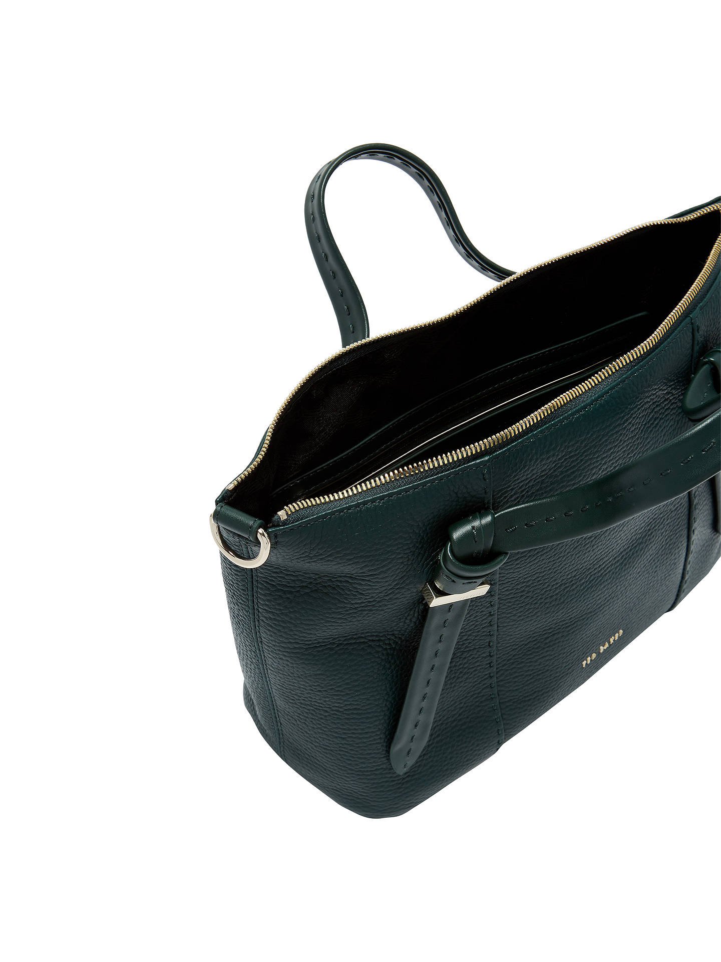 Buy Ted Baker Olmia Knotted Handle Small Leather Tote Bag, Dark Green Online at johnlewis.com