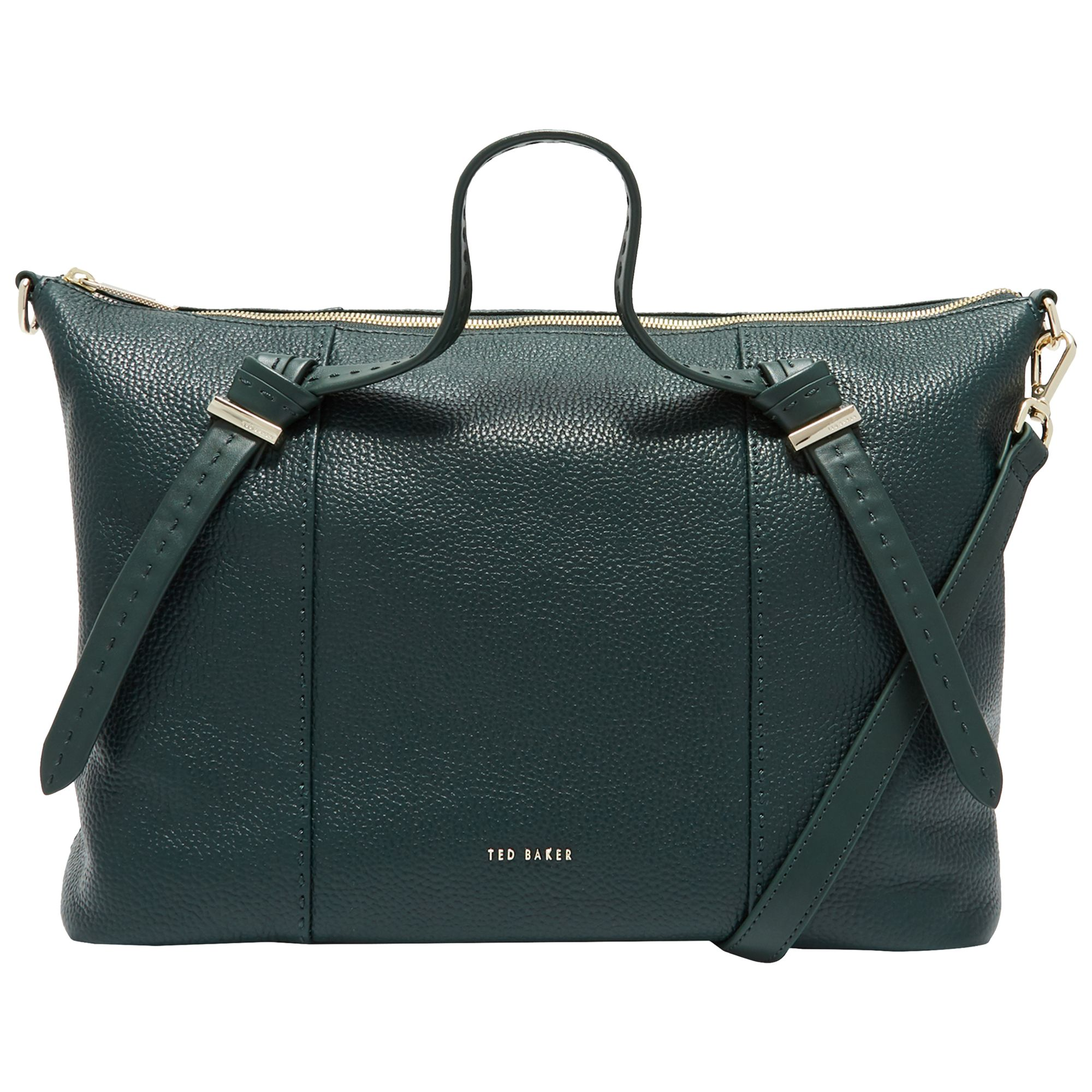 Ted Baker Oellie Knotted Handle Large Leather Tote Bag, Dark Green at John  Lewis   Partners 05f7ca6b05