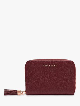 Buy Ted Baker Sabel Small Leather Zip Around Matinee Purse, Maroon Online at johnlewis.com