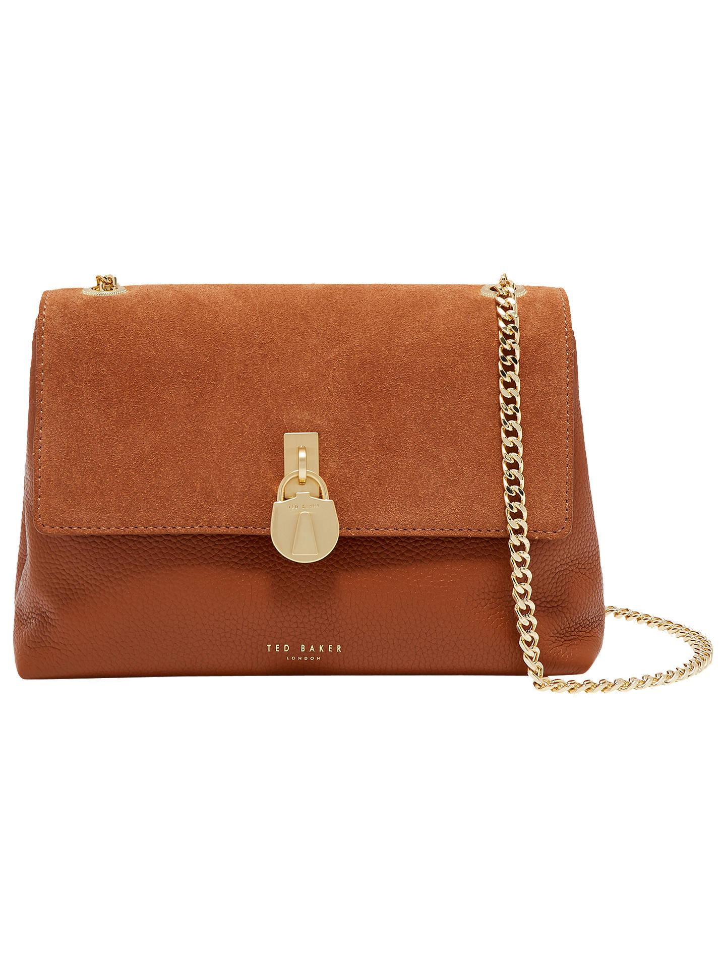 1a5e778e9a06 Ted Baker Helena Padlock Detail Leather Cross Body Bag at John Lewis ...