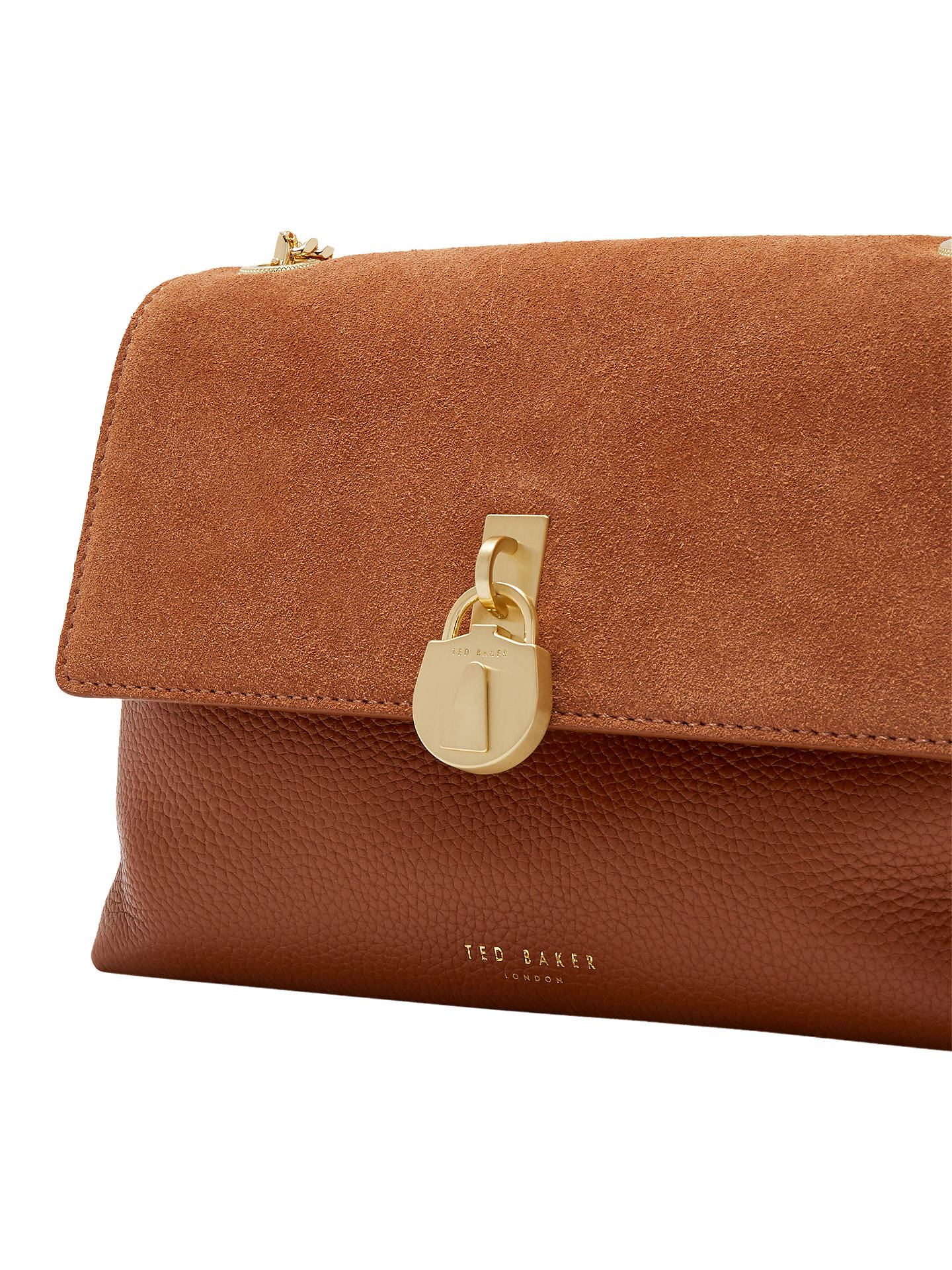 9d186033b9d5 Ted Baker Helena Padlock Detail Leather Cross Body Bag at John Lewis ...