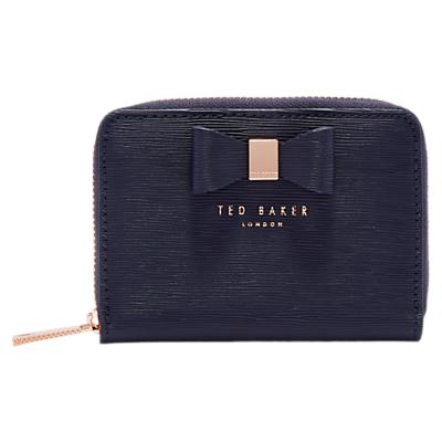 Ted Baker Aureole Bow Zip Around Leather Purse, Dark Blue